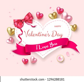 Pink St. Valentine's Day greeting card with colorful shiny 3d hearts, ribbon and satin bow. Love design. Vector paper background.