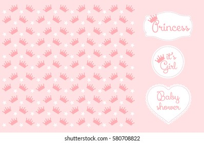 Pink star and crown background. Cute frame for little princesses
