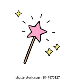 Pink star shaped magic wand with shiny sparkles. Magical wand, stick, doodle hand drawn vector illustration, isolated.