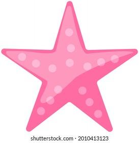 Pink starfish on white background. Cartoon nautical character lives in ocean. Underwater life of caribbean starfish. Sea dweller. Wild nature of mediterranean sea. Five-finger marine animal seastar