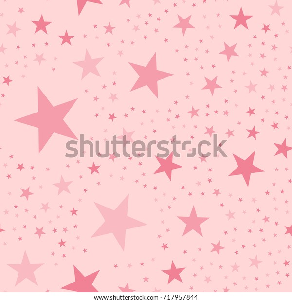 Pink stars seamless pattern on light pink magnetic background.