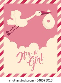 Pink Stork Baby Shower Invite Greeting Card