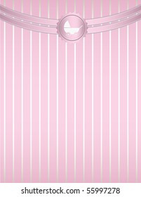 Pink striped baby stroller background - vector