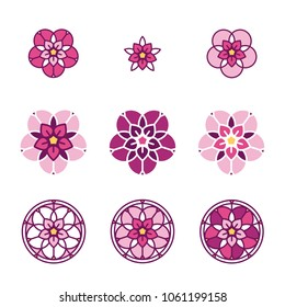 Pink stylized flower logo. Floral composition, set of vector abstract beauty linear style logotype template. Glass painting, leaded pane, stained-glass window. Yoga studio.