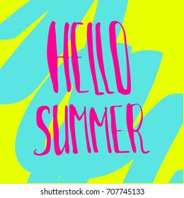 pink summer lettering on green and blue background