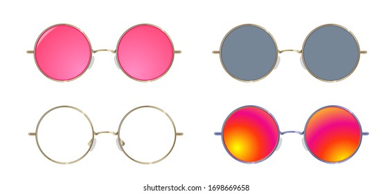 Pink sunglasses with rounded frame. Set of glasses - colorful, blind person, transparent gold frame.
