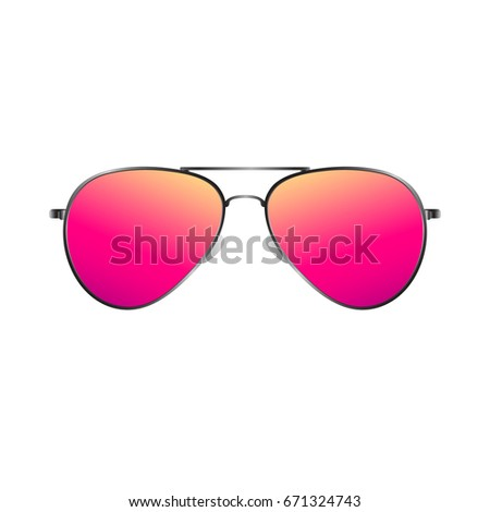 494a1dc105bb8 Pink Sunglasses. Vector Illustration. Realistic Style on White Background.  Fashion Design Element