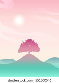 Pink sunrise over the hills. Sweet pink landscape with green hills. Lovely sakura background. Beautiful tree silhouette