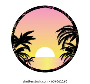 Pink sunset shore vector illustration palm silhouettes and ocean