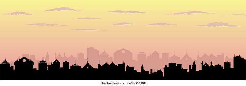 Pink sunset sky over city silhouette vector cityscape illustration, Victorian, European style town