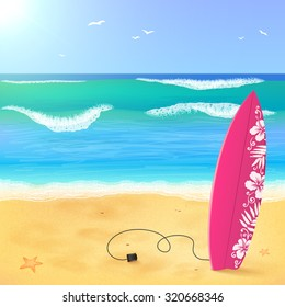 Pink surfing board on the beach with waves, vector illustration