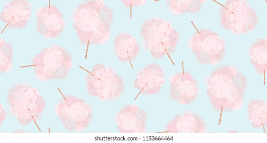 Pink sweet cotton wool on a stick. Airy sweets. Sugar flavor. Cotton candy, like a pink tree.