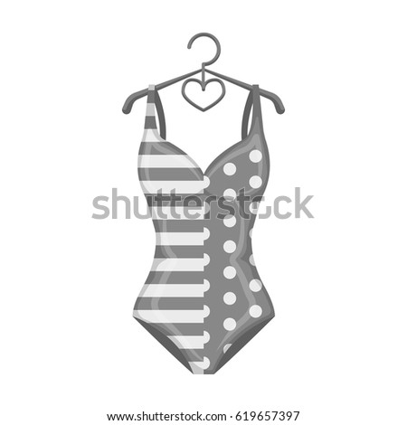 e598f7c750 Pink swimsuit for the beach stripe and star.Swimming costume.Swimcuits single  icon in monochrome style vector symbol stock illustration. - Vector