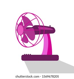Pink table fan Equipment for air conditioning room, vector illustration isolated on white background