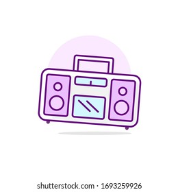 Pink tape recorder. Music's bright poster. Vector Illustration