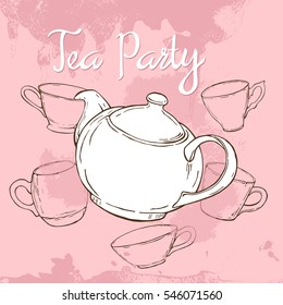 Pink tea party poster with hand drawn teapot and cups. Vector illustration