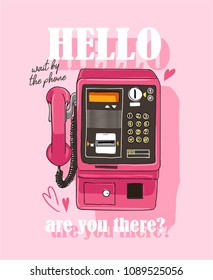 pink telephone illustration with text slogan