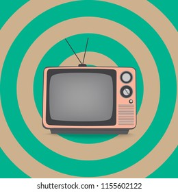 pink television in retro style