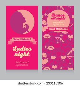 pink template for Ladies night party, vector illustration