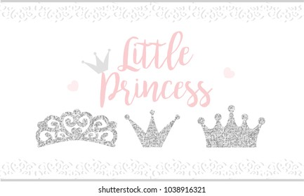 Pink text Little Princess on white background with lace. Cute silver glitter texture. Grey gloss effect. Birthday party and girl baby shower decor.