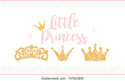 Pink text Little Princess on white background with lace. Cute gold glitter texture. Golden gloss effect. Birthday party and girl baby shower decor.