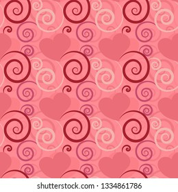 Pink textured beautiful seamless pattern tile with hearts and flourish designs for festive surface designs, textiles, fabric, background, wrapping paper, gift card, invitations, weddings and wallpaper