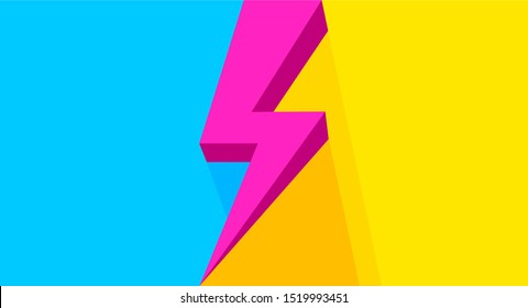 pink thunder on yellow blue bright for banner copy space, flash sales graphic template for vs concept ad, thunderstorm symbol for advertising compare, icon shock arrow for flash sales banner promotion
