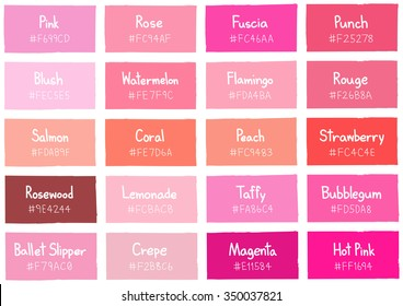 Pink Tone Color Shade Background with Code and Name Illustration