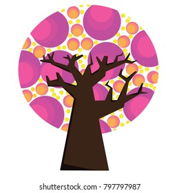 Pink Tree grapic vector