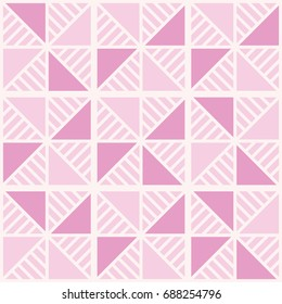 Pink triangles and light stripes. Seamless simple geometric background. Excellent vector illustration for printing on fabrics, wallpapers, paper, packaging and other surfaces.
