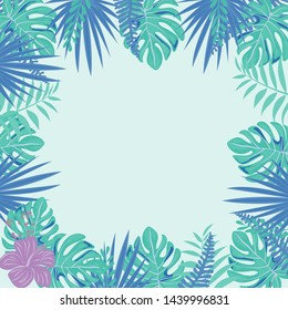 Pink tropical flowers and leaves frame on light background. Floral Border. Frame made of flowers for wedding invitations and other events.Trendy Summer Tropical Leaves and flowers.Vector Design.