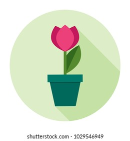 Pink tulip flower in flat with green leaf and shadow. Template vector illustration for international women`s day greeting card. Icon spring symbol home flowerpot cosiness interior high quality