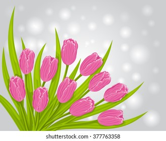 Pink Tulips Vector Illustration. Spring Flower Background.
