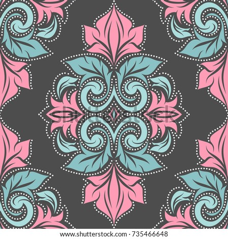 Pink And Turquoise Vector Seamless Pattern Wallpaper Elegant Classic Texture Luxury Ornament