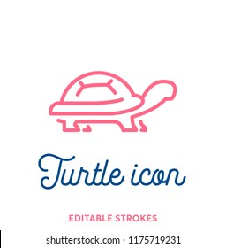 Pink turtle line icon. Minimal animal icon set, cute pet. Turtle shell symbol with editable stokes for infographics or web use. Flat design silhouette. Tortoise armour and typography design