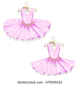 Pink tutu on the hanger. Vector illustration. Set.