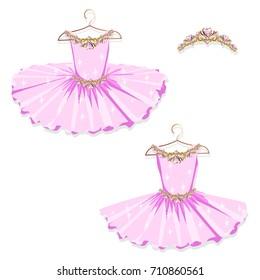 Pink tutu on the hanger. Vector illustration. Set.