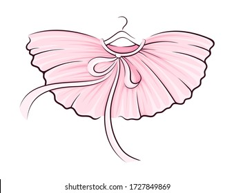 Pink Tutu Skirt with Corrugated Edges on Hanger Vector Illustration