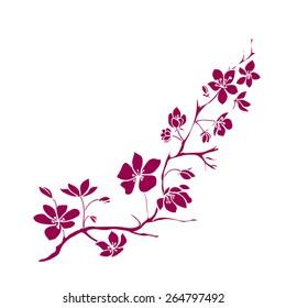 Pink twig sakura blossoms. Vector illustration
