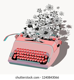 Pink typewriter with flowers. Vector illustration on light yellow background