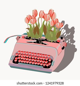 Pink typewriter with tulips. Vector illustration on light yellow background