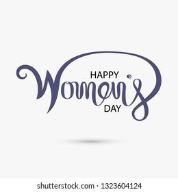 Pink Typographical Design Elements.Happy Women's day.International Women's day symbol. Minimalistic design for international women's day concept.Vector illustration