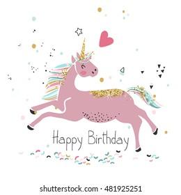 pink unicorn, happy birthday card