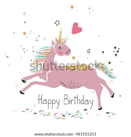 Pink Unicorn Happy Birthday Card