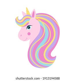 Pink unicorn head with rainbow mane and yellow horn. Cute fantasy unicorn, fairytail for baby. Vector illustration on white background