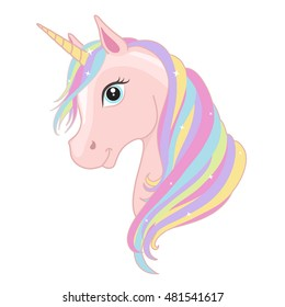 Pink unicorn head with rainbow mane and horn isolated on white background. Vector illustration.