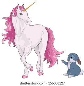 pink unicorn looking at a cute bunny. Vector illustration