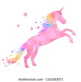 Pink unicorn in low poly style