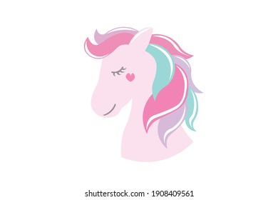Pink Unicorn Vector with Love