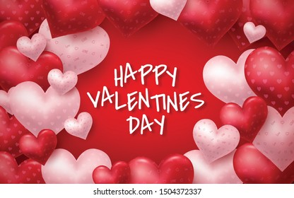 Pink Valentine's Day background with 3d hearts on red. Vector illustration